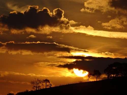 Sunset Horizon Cloud Landscape Sky Twilight Dusk