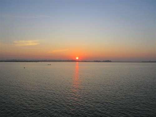 Sunset Sun Sea Ocean Water Nature Clouds Evening
