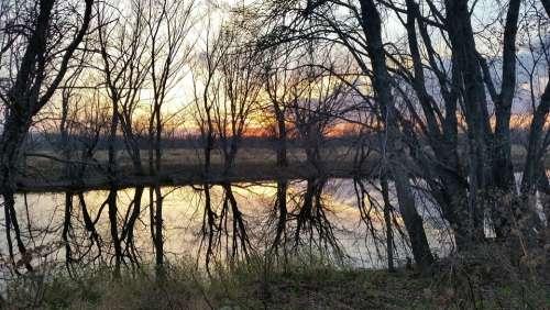 Sunset Nature Reflection Water River Landscape