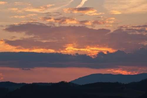 Sunset Mountains Landscape Nature Sky Clouds