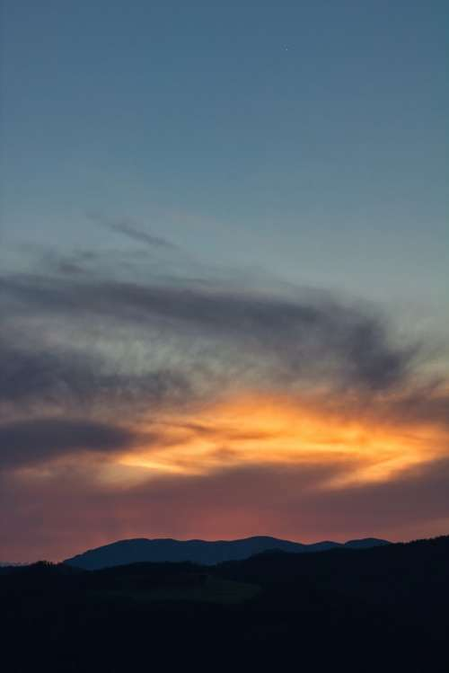 Sunset Clouds Mountains Sky Landscape Evening