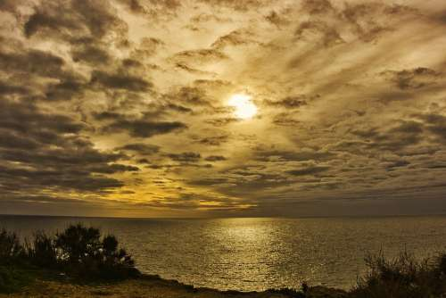 Sunset Mar Ocean Twilight Water Landscape Calm
