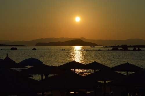 Sunset Beach Sundown Evening Holiday Vacation