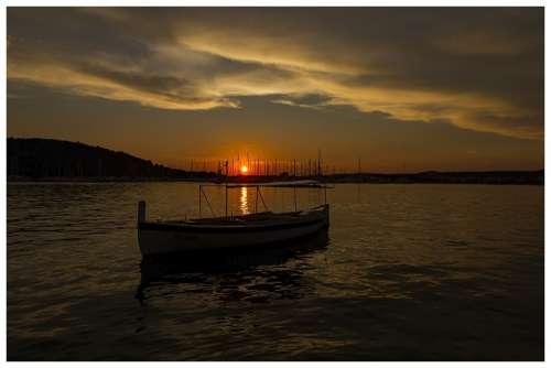 Sunset Boat Croatia Sea Port Sky Mood