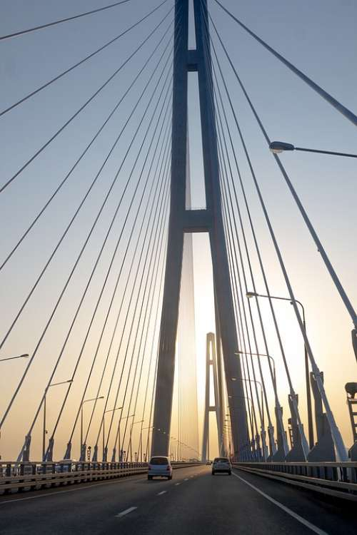 Sunset Bridge Sky Road Architecture Vladivostok