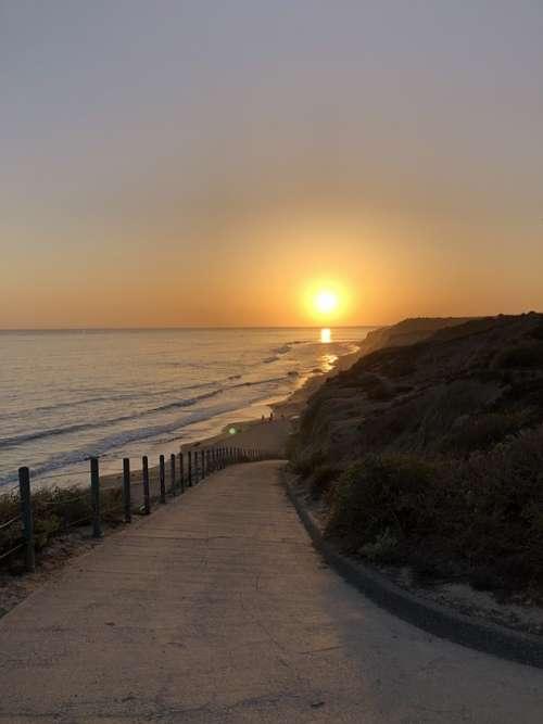 Sunset Pacific Ocean Sea Beach California