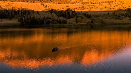 Sunset Lake Boat Reflection Landscape Scenic