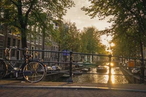Sunset Amsterdam Kracht Water Landscape Twilight
