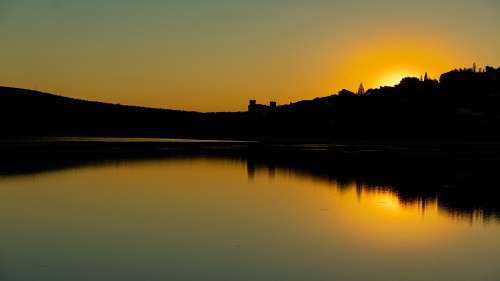 Sunset Lake People Reflection Water Calm