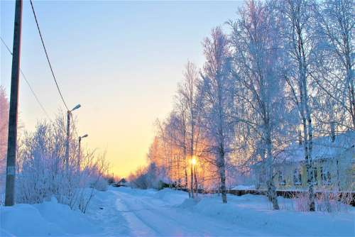 Sunset Road Village Sky Winter Landscape