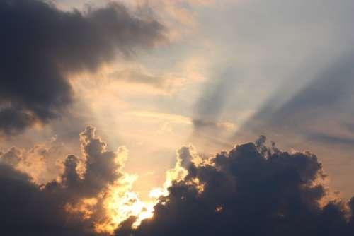Sunset Dusk Lighting Horizon Sun Rest Clouds Sky