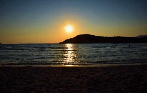 Sunset Part Marine Romantic Ocean Blue Sky Day S