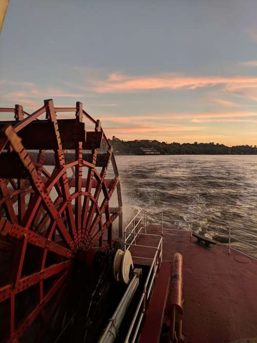 Sunset River Cruise Paddle Wheel Red Sunset