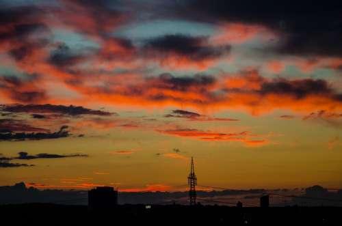 Sunset Strommast Energy Dusk Abendstimmung