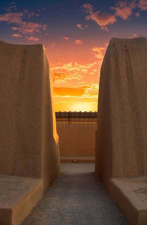 Sunset Ruins Sky Old Nature Tourism Travel Blue
