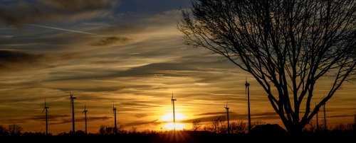 Sunset Evening Sun Wind Power Abendstimmung Clouds
