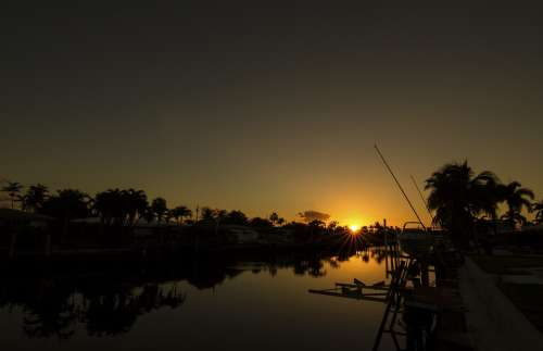 Sunset Twilight Landscape Nature Beach Evening