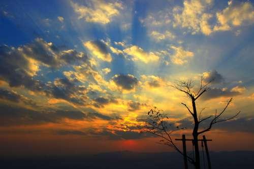 Sunset Sky Background Sunrise Nature Blue Yellow