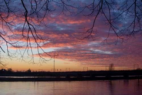 Sunset River Bridge Railway Line Landscape Water
