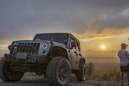 Sunset Off-Road Jeep Epic Adventure Landscape