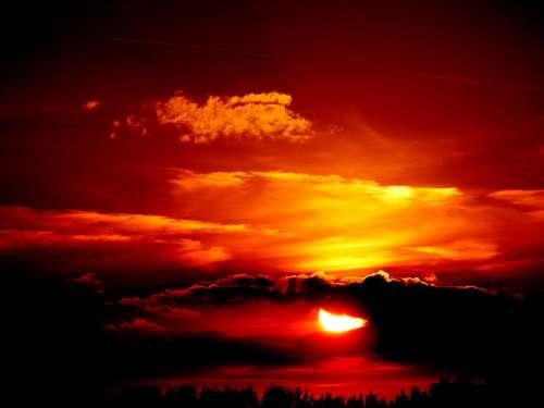 Sunset Sun Sunrise Sky Red Clouds