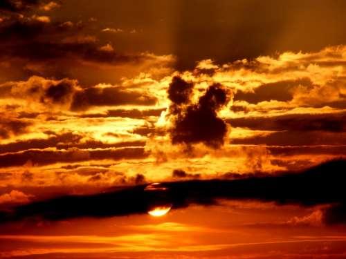 Sunset Sky Sun Cloud Twilight Red