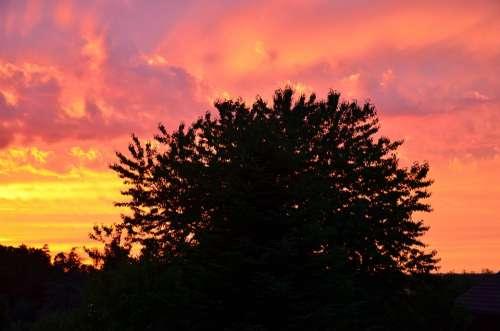 Sunset Afterglow Abendstimmung Red Mood Romance