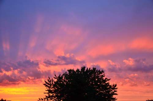 Sunset Afterglow Sky Evening Sky Abendstimmung