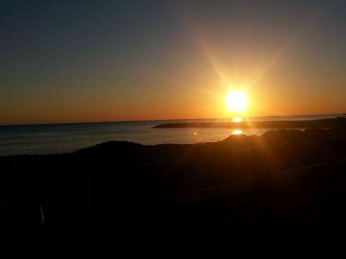 Sunset Sea Evening Sky Coast Mood Sun
