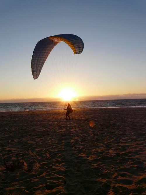 Sunset Paraglider Beach Abendstimmung Mood Water