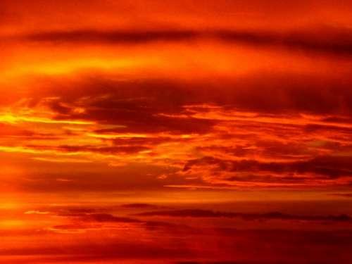 Sunset Sun Sky Cloud Red Fire In The Evening