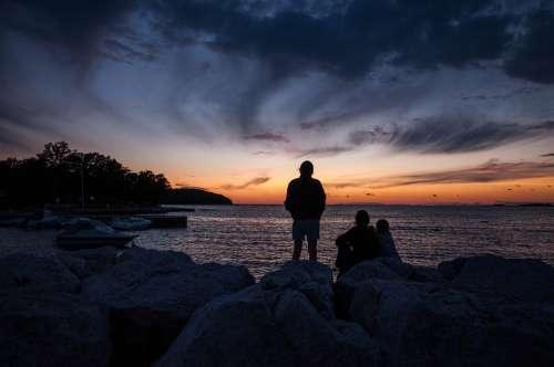 Sunset People Sea Colors Clouds Horizon