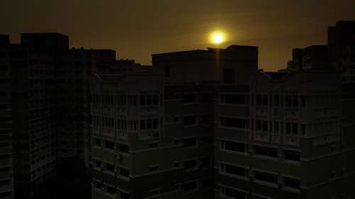 Sunset Singapore Housing Dawn Blocks Sun Building