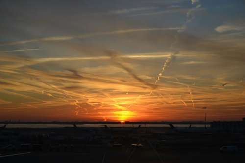 Sunset Airport Travel Trip Chemtrails