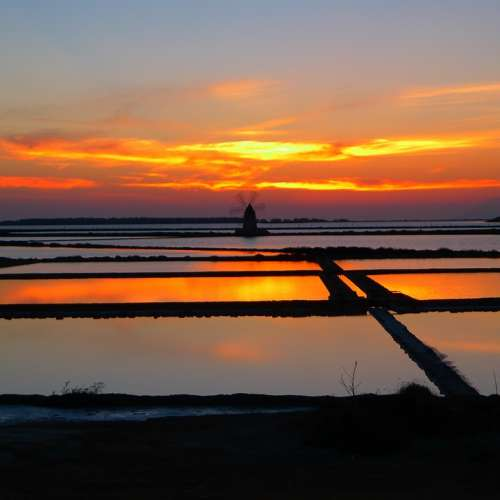 Sunset Saline Marsala