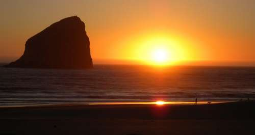 Sunset Ocean Beach Summer Coast Haystack Rock