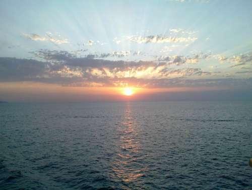 Sunset Sea Horizon Landscape Sun Italy