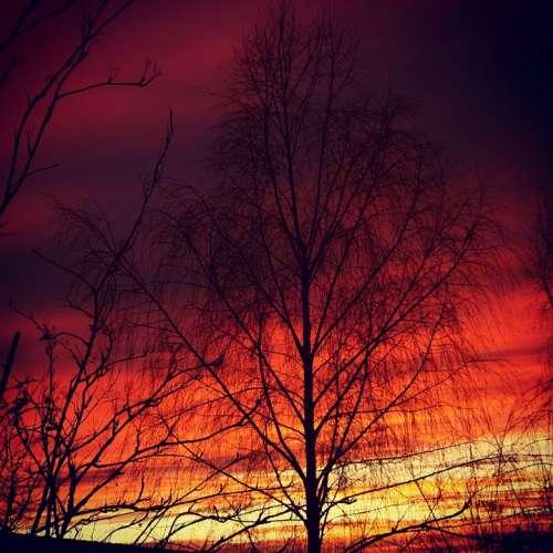 Sunset Evening Sky Red Afterglow Abendstimmung