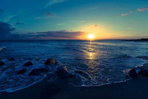 Sunset Sea Ocean Water Summer Sunrise Sunlight