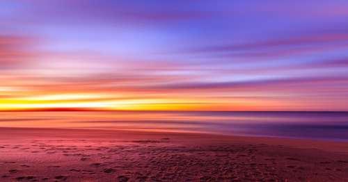 Sunset Purple Sky Beach Sand Shore Water Ocean