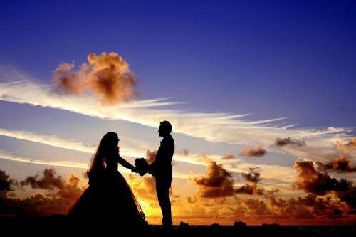 Sunset Wedding Bride Groom Couple Bridal