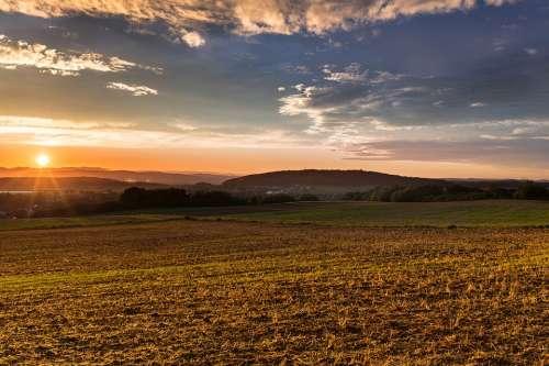 Sunset Mood Sun Afterglow Fields Landscape