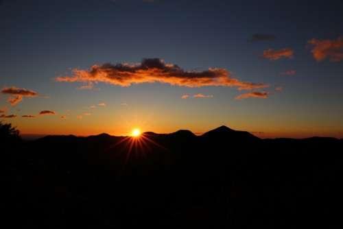 Sunset Sky Hills Silhouette Sunrise Dusk Dawn