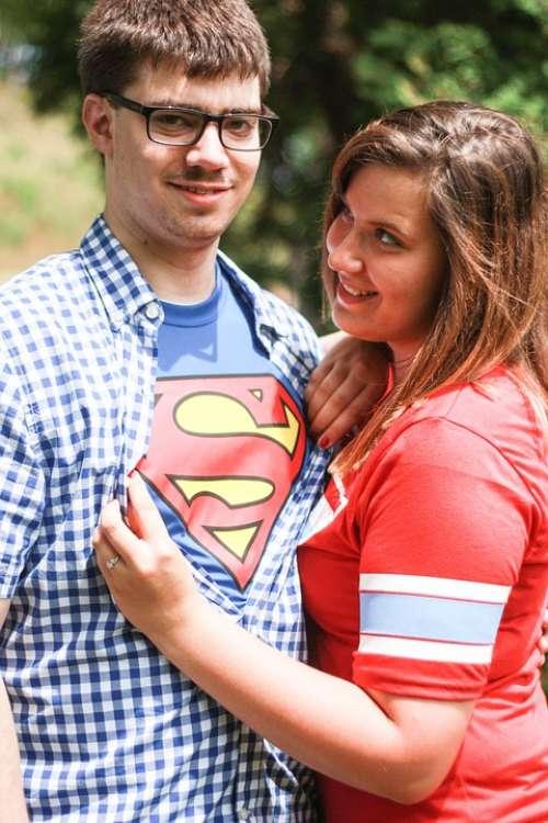 Superman Man Woman Couple Romance Love Engagement