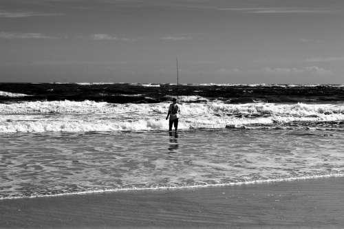Surf Fisherman Person Landscape Seascape Rod