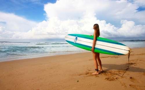 Surfing Girl Female Surfer Surfboard Board Surf