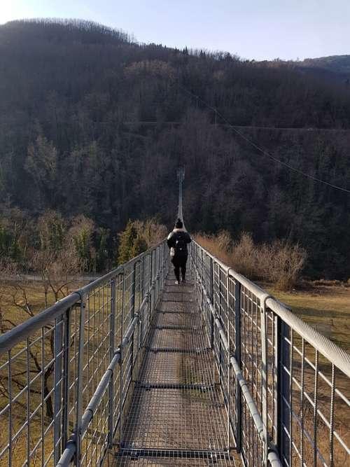 Suspension Bridge Mountains Italy Nature Landscape