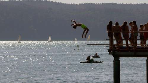 Swim Springboard Vacations Jump Lake Constance