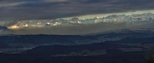 Switzerland Alpine Panorama Mountains Snow Winter