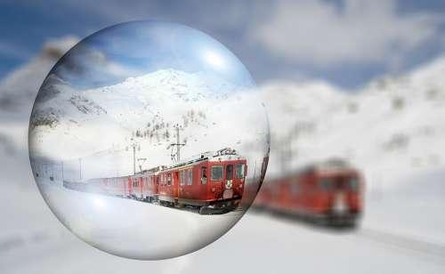 Switzerland Train Winter Snow Mountains